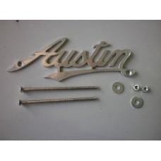 "Austin script badge - chrome radiator  approxinately 5"" long"